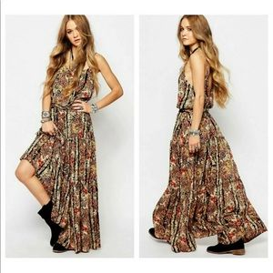 FREE PEOPLE FLORAL VALERIE RUFFLE TIERED MAXI